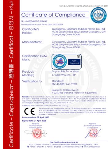 Mask CE Certificate