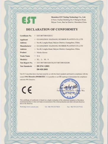 Nitrile CE EN 374 EN420