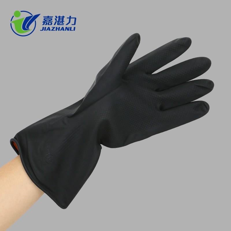 Black Latex Gloves for Drainage Work Wastewater Treatment, Waste Sorting