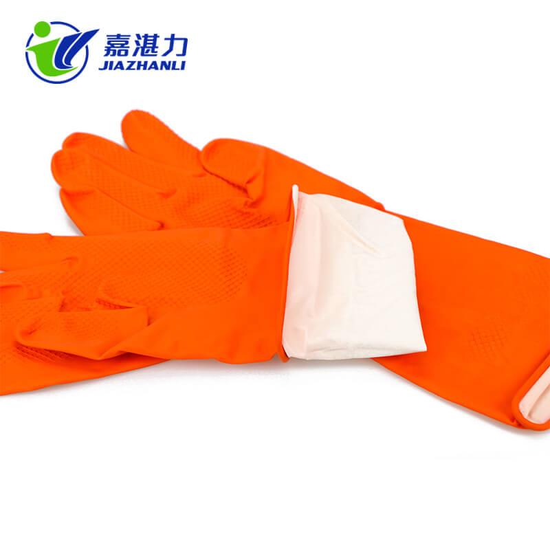 Orange Latex-Rubber Washing Gloves for Household